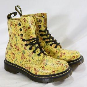 DR. MARTENS 1460 W in Sun Yellow Little Flowers